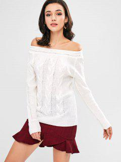 Cable Knit Off Shoulder Sweater - White