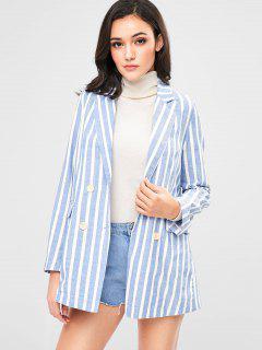 Flap Pockets Striped Boyfriend Blazer - Light Blue L