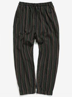 Casual Striped Jogger Pants - Black L