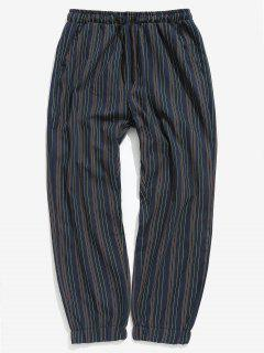 Casual Striped Jogger Pants - Blue S