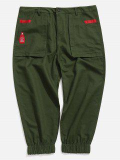 Applique Pockets Casual Jogger Pants - Army Green L