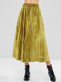 Maxi Pleated Accordion Velvet Skirt - Harvest Yellow M