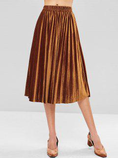 Velvet Midi Pleated Skirt - Brown L