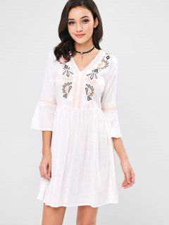 Flare Sleeves Embroidered Mini Dress - White L