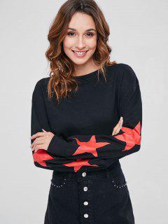 Star Graphic Raw Hem Crop Sweatshirt - Black M