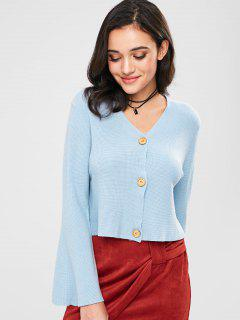 Button Up Bell Sleeve Cardigan - Baby Blue