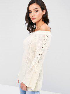 Off Shoulder Lace Up Sweater - Cornsilk