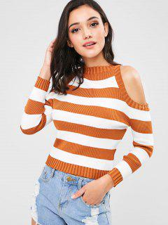 Striped Ribbed Cold Shoulder Sweater - Tiger Orange