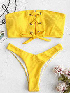 ZAFUL Grommet Lace-up Bandeau Bikini Set - Rubber Ducky Yellow L