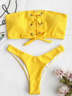 ZAFUL Grommet Lace-up Bandeau Bikini Set - Rubber Ducky Yellow S