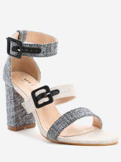 ZAFUL Buckle Strap Chunky Heel Sandals - Black 36