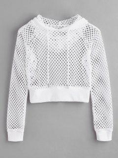 Pullover Fishnet Hoodie - White Xl
