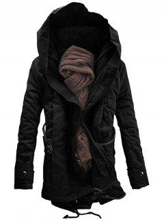 Hooded Padded Double Zip Up Parka Coat - Black M