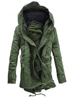 Hooded Padded Double Zip Up Parka Coat - Army Green M