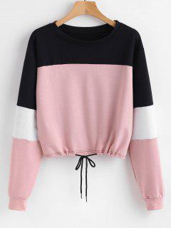 Pullover Color Block Sweatshirt - Rosa S