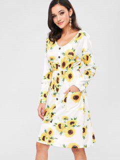 ZAFUL Buttoned Sunflower Midi Long Sleeve Dress - Multi S