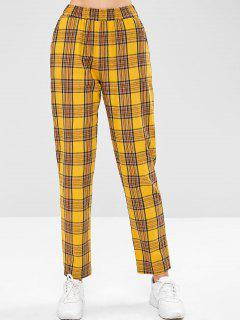 ZAFUL High Waist Tartan Straight Pants - Rubber Ducky Yellow M