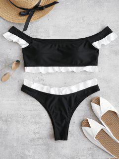 ZAFUL Frilled Off The Shoulder Bikini Set - Black S
