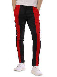 Color Block Patchwork Casual Track Pants - Black M