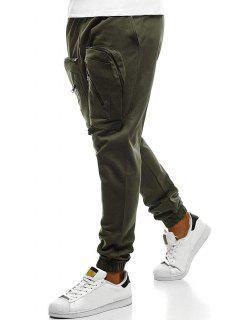 Big Zipper Pockets Design Jogger Pants - Army Green 3xl