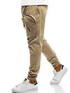 Big Zipper Pockets Design Jogger Pants - Light Khaki L