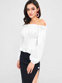 Off Shoulder Ruffles Lace Up Blouse - White