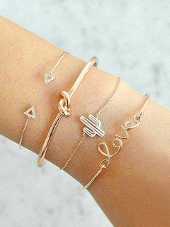 Vintage Rhinestone Arrow LOVE Alloy Bracelet Set - Gold
