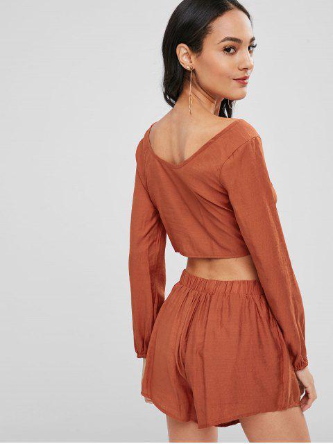 shop Long Sleeve Crop Top and Shorts Co Ord Set - SHOCKING ORANGE L Mobile