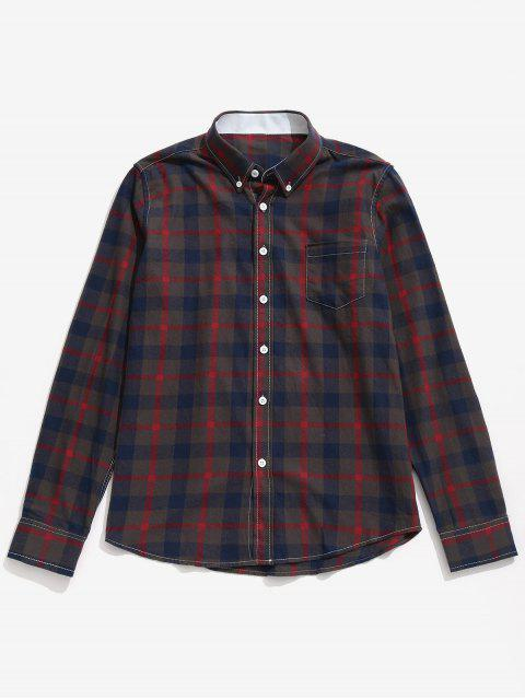 fashion Chest Pocket Button Down Checked Shirt - RED L Mobile