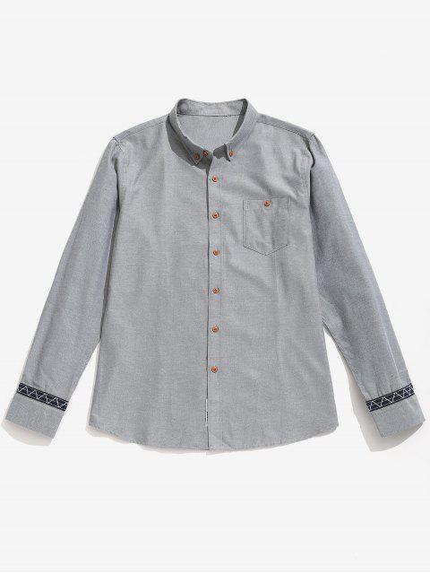 Camisa de botones de detalle de parche informal - Gris S Mobile
