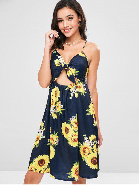 Sunflower Print Tie Front Sundress - Azul de Pizarra Oscuro L Mobile