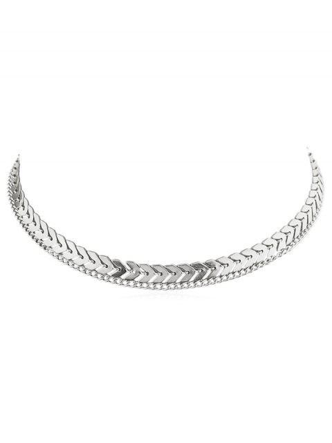 Collar de cadena de espina de pescado de capa - Plata  Mobile