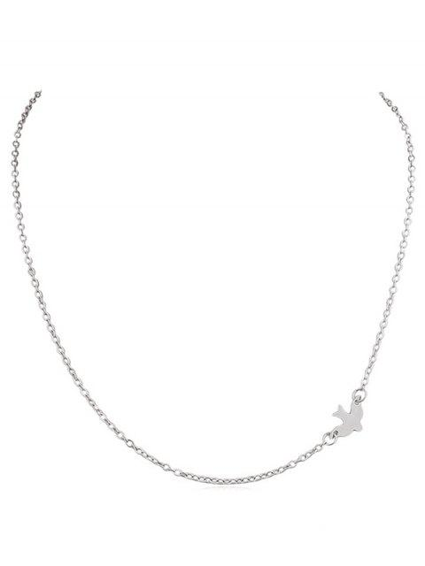 shop Tiny Bird Decoration Chain Necklace - SILVER  Mobile