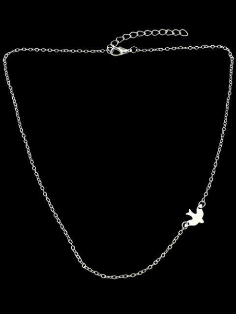 Collier Décoré de Petit Oiseau avec Chaîne - Argent  Mobile