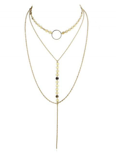 Runde geformte Dekoration Layered Choker Halskette - Gold  Mobile