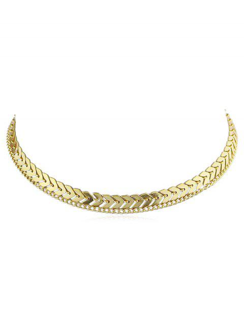 chic Layer Fishbone Chain Necklace - GOLD  Mobile