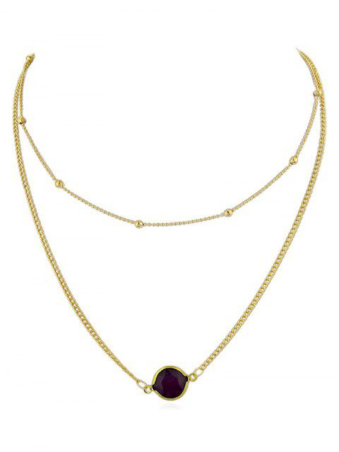 fancy Layer Artificial Gem Pendant Chain Necklace - PURPLE  Mobile