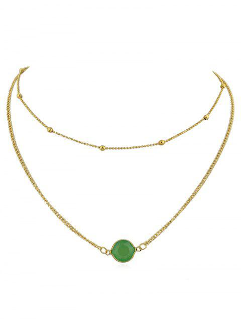 sale Layer Artificial Gem Pendant Chain Necklace - GREEN  Mobile
