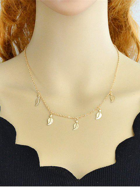 affordable Leaves Design Alloy Chain Necklace - GOLD  Mobile