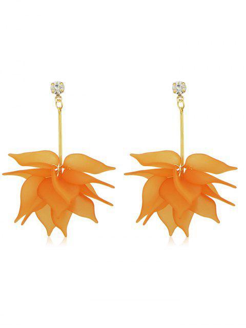 women's Rhinestone Floral Designed Drop Earrings - ORANGE  Mobile