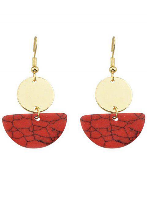 Pendientes redondos de semicírculo redondo - Rojo  Mobile