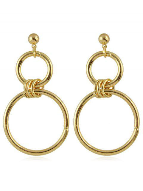 shops Double Circle Pendant Earrings - GOLD  Mobile