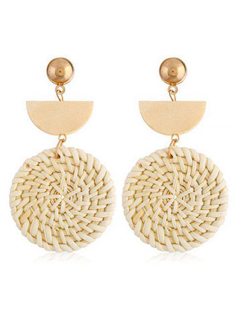 Geometrische Design Straw Weave Rattan Knit Ohrringe - Gold  Mobile