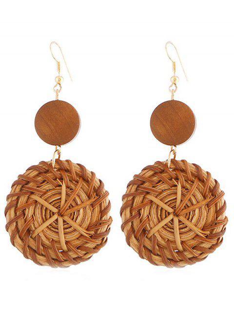 Boucles d'oreilles crochet en forme de rotin en forme de cercle - Brun  Mobile
