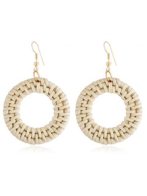 Diseño de círculo Rattan Knit Drop Earrings - Amarillo de Mazorca de Maíz  Mobile