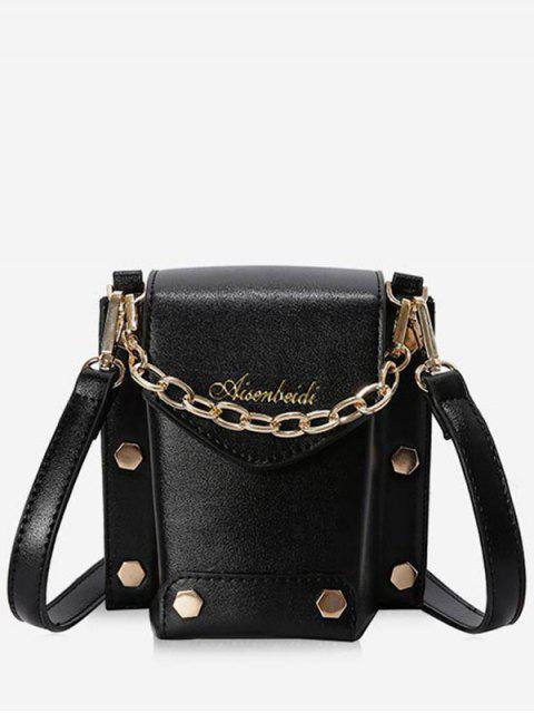Bolso de hombro con solapa decorativa - Negro  Mobile