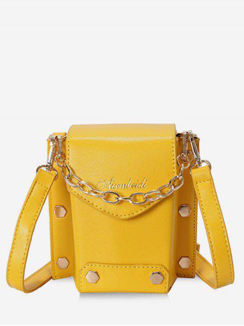 best Stud Decorative Flap Shoulder Bag - YELLOW  Mobile