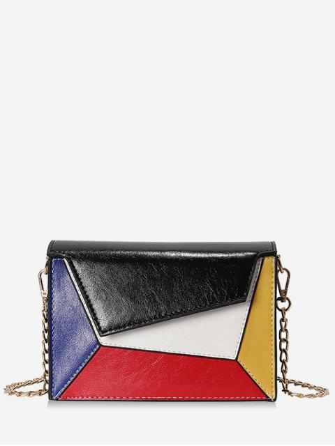 Color Block PU Leather Chain Crossbody Bag - Negro  Mobile