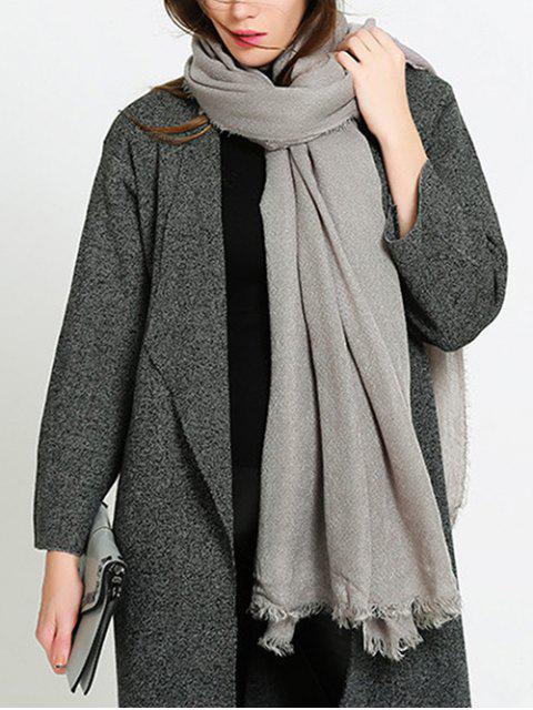 Bufanda de chal con flecos de color sólido único - Gris Claro UN TAMAÑO Mobile