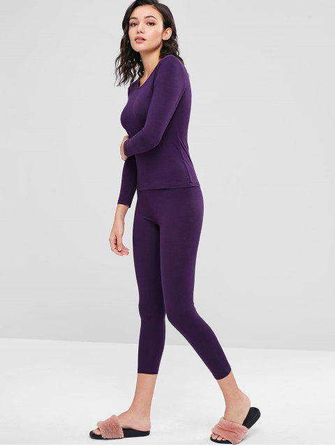 buy Long Underwear Thermal Top and Pants Set - PURPLE L Mobile